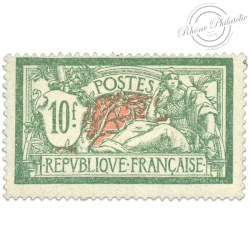 FRANCE N°207 TYPE MERSON 10F. VERT ET ROUGE, TIMBRE NEUF*1925-26
