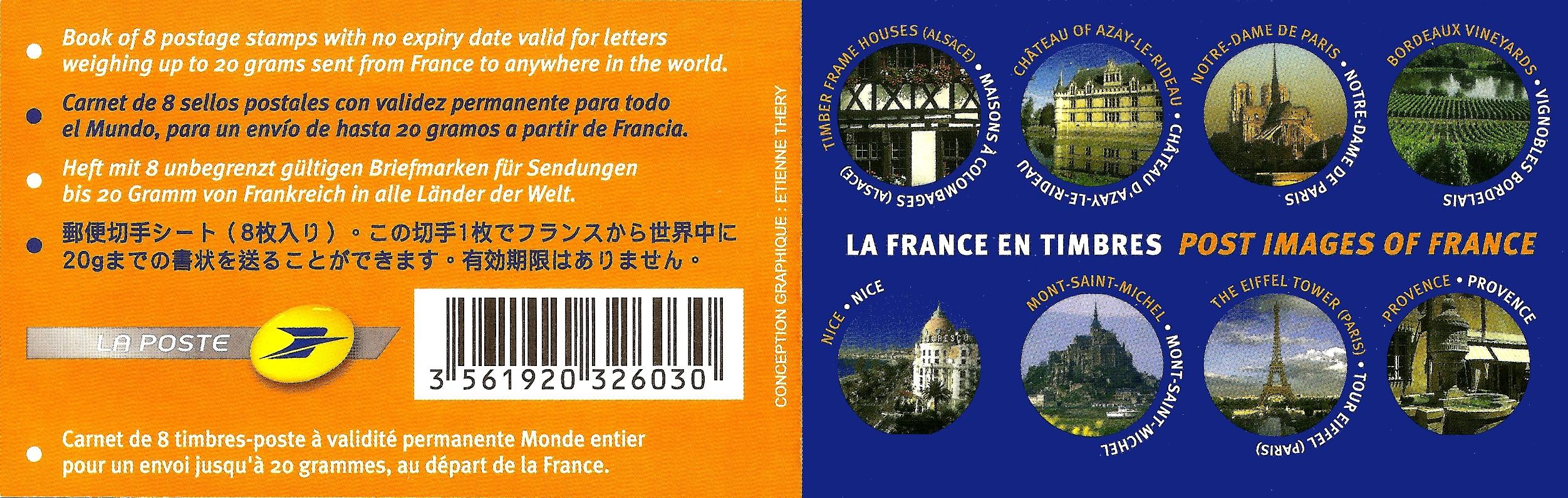 CARNET composé de 8 timbres poste autocollants illustrés