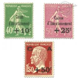 FRANCE N°253 À 255 CAISSE D'AMORTISSEMENT, TIMBRES NEUFS**/*1929