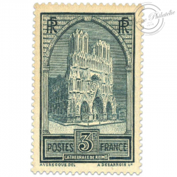 FRANCE N°259C CATHÉDRALE DE REIMS, TIMBRE NEUF-1929-31