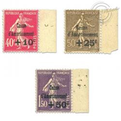 FRANCE N°266 À 268 CAISSE D'AMORTISSEMENT NEUFS**1930