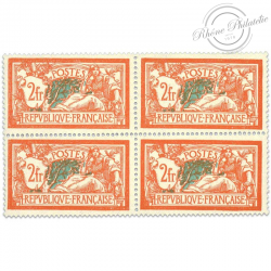 FRANCE N°145 TYPE MERSON, BLOC DE 4 TIMBRES NEUFS-1907
