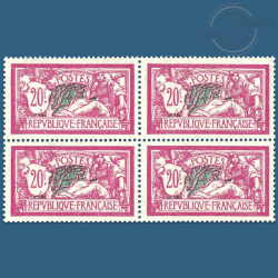 FRANCE N°208 TYPE MERSON, BLOC DE 4 TIMBRES NEUFS**1925-26