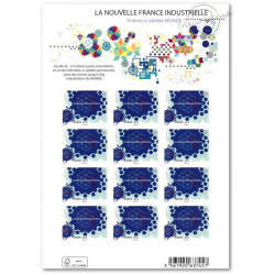 FEUILLE TIMBRES AUTOADHESIFS 1069A NOUVELLE FRANCE INDUSTRIELLE LETTRE 20G MONDE