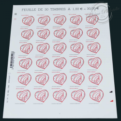 FEUILLE SAINT-VALENTIN, PATCH D'AMOUR N°649 TIMBRES**2012-LUXE