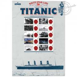 FEUILLE COMMÉMORATIVE, 100E ANNIVERSAIRE TITANIC TIMBRES-2012