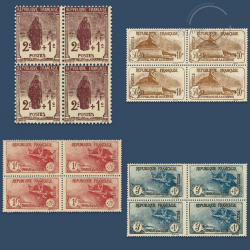 FRANCE BLOCS DE 4 TIMBRES N°229 À 232 SÉRIE ORPHELINS DE GUERRE , NEUFS-1926