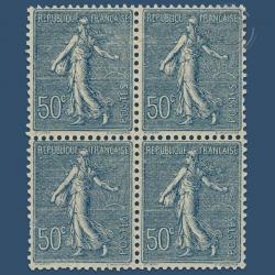 FRANCE BLOC DE 4 TIMBRES N°161 SEMEUSE 50 C. BLEU, TIMBRES NEUFS-1921-22