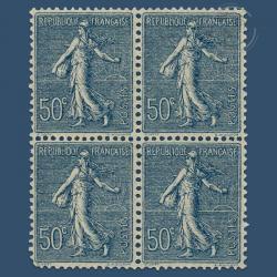 FRANCE BLOC DE 4 TIMBRES N°161 SEMEUSE 50 C. BLEU, TIMBRES NEUFS**/*1921-22