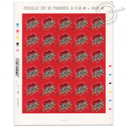 FEUILLE TIMBRES-POSTE AUTOADHÉSIFS N°386 CŒURS 2010, MAISON DE COUTURE LANVIN