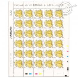 FEUILLE DE 30 TIMBRES-POSTE N°5292, SAINT-VALENTIN CŒUR BOUCHERON-2019