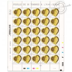 FEUILLE DE 30 TIMBRES-POSTE N°5293, SAINT-VALENTIN CŒUR BOUCHERON-2019