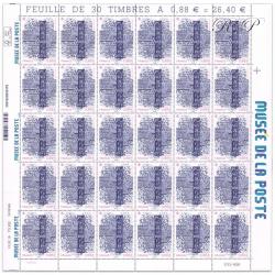 FEUILLE DE 30 TIMBRES-POSTE N°5356, MUSÉE DE LA POSTE DE PARIS-2019