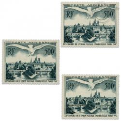 FRANCE LOT PA N°20, VUE DE PARIS, 3 TIMBRES NEUFS-1947