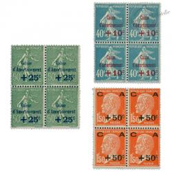 FRANCE BLOCS DE 4 TIMBRES N°246 À 248 CAISSE D'AMORTISSEMENT, TIMBRES NEUFS**/*1927