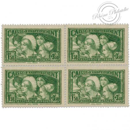FRANCE BLOC DE 4 TIMBRES N°269, CAISSE D'AMORTISSEMENT, TIMBRES NEUFS-1931