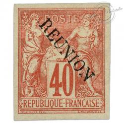 RÉUNION N°14, TYPE SAGE SURCHARGÉ, TIMBRE NEUF ET SIGNÉ-1891