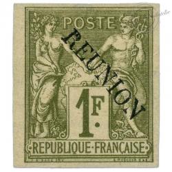 RÉUNION N°16, TYPE SAGE SURCHARGÉ, TIMBRE NEUF ET SIGNÉ-1891
