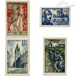 TIMBRES POSTE N°1050a À 1053a, TIMBRES NON DENTELÉS DE 1956