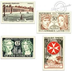 TIMBRES POSTE N°1059a À 1065a, TIMBRES NON DENTELÉS DE 1956
