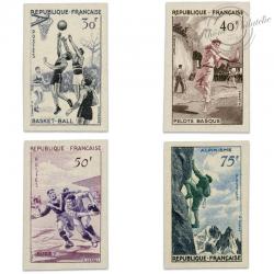 TIMBRES POSTE N°1072 À 1075, SERIE SPORTIVE, NON DENTELÉS DE 1956