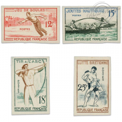 TIMBRES POSTE N°1161 À 1164 JEUX TRADITIONNELS, SÉRIE NON DENTELÉES-1958