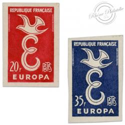 TIMBRES POSTE N°1173 ET 1174, EUROPA, TIMBRES NON DENTELÉS DE 1958