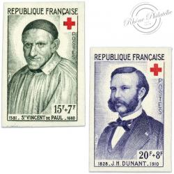 TIMBRES POSTE N°1187 ET 1188 CROIX-ROUGE, TIMBRES NON DENTELÉS-1958