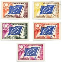 FRANCE SERVICE N°17 À 21 SÉRIE CONSEIL EUROPE, TIMBRES NON DENTELÉS-1958