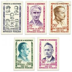 TIMBRES POSTE N°1198 À 1202 SÉRIE HEROS RESISTANCE (III), NON DENTELÉS-1959