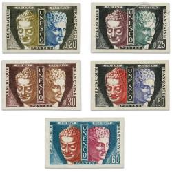 FRANCE SERVICE N°22 À 26 SÉRIE SERVICE DE L'UNESCO, TIMBRES NON DENTELÉS-1960-65
