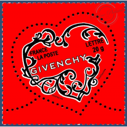 TIMBRE POSTE N°3996 SAINT VALENTIN COEURS 2007 GIVENCHY