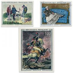TIMBRES POSTE N°1363 À 1365 SÉRIE TABLEAUX DE MAITRES, TIMBRES NON DENTELÉS-1962