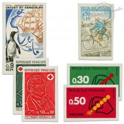 TIMBRES POSTE N°1704a,1710a,1719a,1720a,1735a,1736a TIMBRES NON DENTELÉS-1972