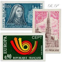TIMBRES POSTE N°1737a,1752a,1753a TIMBRES NON DENTELÉS-1973