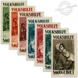 SARRE SÉRIE N°132 À 138 ŒUVRES POPULAIRES, TIMBRES NEUFS, SANS GOMMES-1930