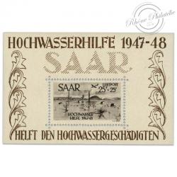 SARRE BLOC TIMBRE N°2 INNONDATION JANVIER 1947, BLOC TIMBRE NEUF-1948