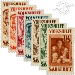 SARRE SÉRIE N°141 À 147 ŒUVRES POPULAIRES, TIMBRES NEUFS, SANS GOMMES-1930-32