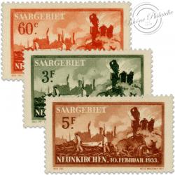 SARRE SÉRIE N°162 À 164 VICTIMES DE L'EXPLOSION DE NEUNKIRCHEN, TIMBRES NEUFS, SANS GOMMES-1933