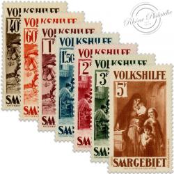 SARRE SÉRIE N°148 À 154 ŒUVRES POPULAIRES, TIMBRES NEUFS, SANS GOMMES-1932