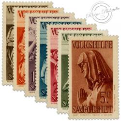 SARRE SÉRIE N°165 À 171 PROFIT DES ŒUVRES POPULAIRES, TIMBRES NEUFS, SANS GOMMES-1934