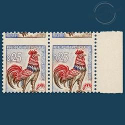 FRANCE PAIRE N°1331 COQ DE DECARIS PIQUAGE CHEVAL, TIMBRES NEUFS-1962-65