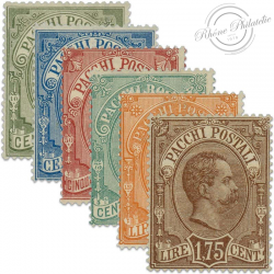 ITALIE SÉRIE N°1 À 6, TIMBRES COLIS POSTAUX HUMBERT 1ER, NEUFS*1884-86