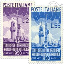 ITALIE SÉRIE N°561 ET 562, CONFÉRENCE DE LA RADIO, TIMBRES NEUFS-1950