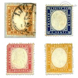 ITALIE SÉRIE N°2 À 5, VICTOR-EMMANUEL II EN RELIEF, TIMBRES OBL/*1862