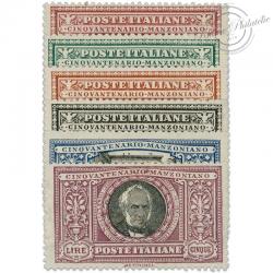 ITALIE SÉRIE N°146 À 151, CINQUANTENAIRE DE LA MORT DE MANZONI, TIMBRES NEUFS*1923