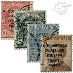 ITALIE SÉRIE N°117 À 120, TIMBRES SURCHARGÉS OBL AVEC CERTIFICAT-1922
