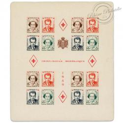 MONACO BLOC N°3B CROIX-ROUGE, TIMBRES NON DENTELES NEUFS-1951