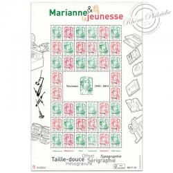 """FRANCE FEUILLE N°F4774B """"MARIANNE ET LA JEUNESSE"""" FEUILLE MULTITECHNIQUE-2013"""