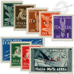 ITALIE REP SOCIALE PA N°1 À 9, TIMBRES AVEC SURCHARGE GNR, NEUFS-1944